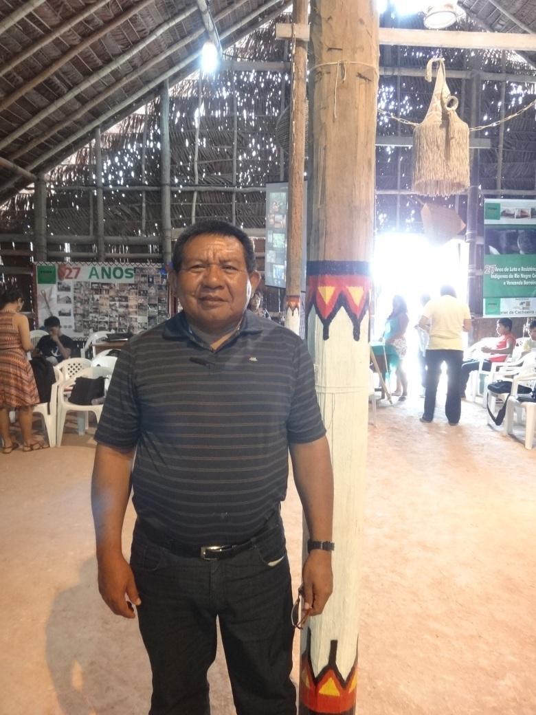 Pe. Justino Sarmento Rezende, na maloca Casa dos Saberes da FOIRN, durante Seminário Rio Negro de Educação Indígena. Foto: Renato Martelli/ISA