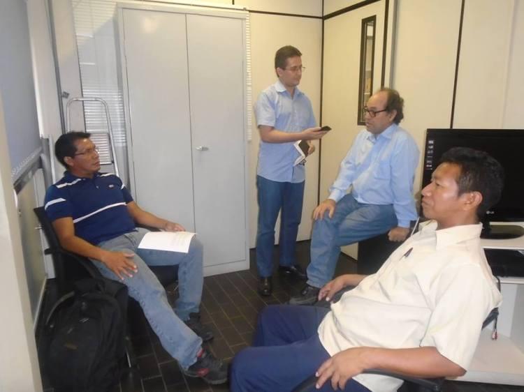 Representantes da FOIRN participam de uma entrevista da rádio da UFPE junto com Professor Renato Athias. Foto: Reprodução