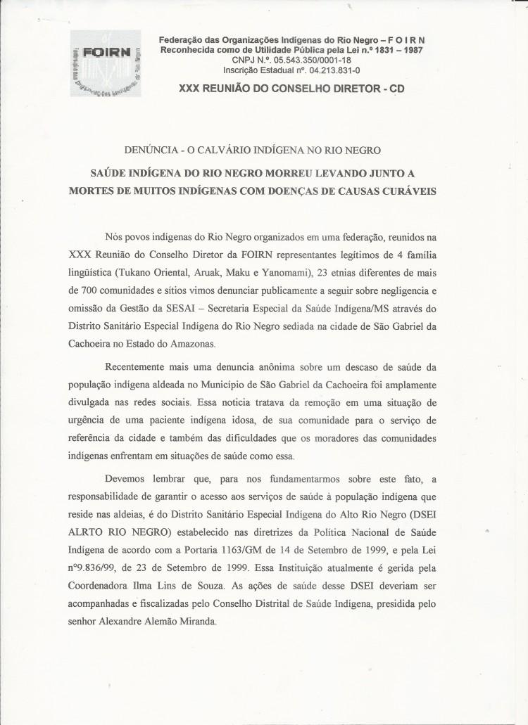 Carta Denúncia XXX CD FOIRN_Saúde Indígena -1